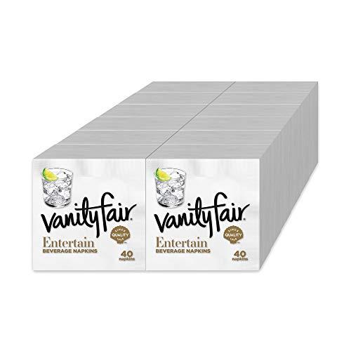 Vanity Fair Entertainペーパーナプキン 飲料カクテルサイズ クラシックホワイト 40枚 (12枚パック)