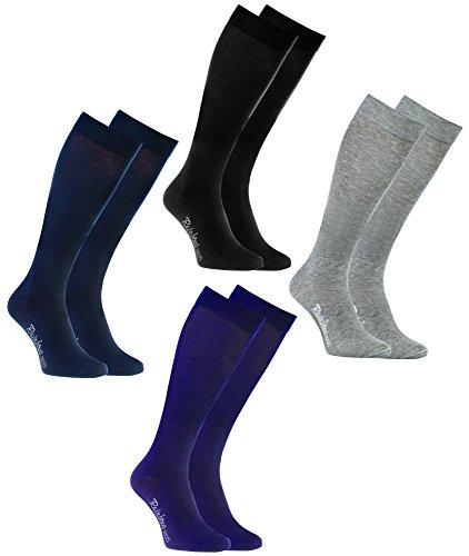Rainbow Socks - Hombre Mujer Altos Calcetines Largos Hasta de Rodilla de Algodón - 4 Pares - Negro Morado Gris Azul - Talla 44-46