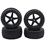 """Pckage includes 4PCS high grip rubber tires,compatible with RC 1/10 Off-road Car,Truck,Monster,Truck,Buggy Tries are made of rubber with sponge inside, wheel rims are made of plastic, perfect replacement Wheel Drive Hex:12 mm/0.47"""",Tires Outer Diamet..."""