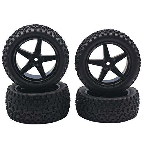 """4Pack ShareGoo 12mm Hex Wheel 5 Spoke Rims High Grip Rubber Tires Front Rear Tyres with Sponge 88mm/3.46"""" for 1/10 RC Off-Road Car Truck Monster Buggy"""