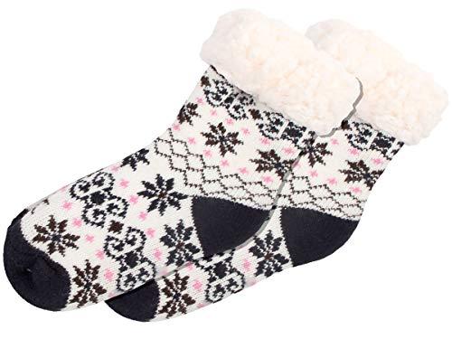 Alsino Kinder Hüttensocken Norweger Socken Kuschelsocken Home Socks, Größe: 30-35, Weiß-schwarz mit Antirutschsohle Teddyfutter SO-W-107-3