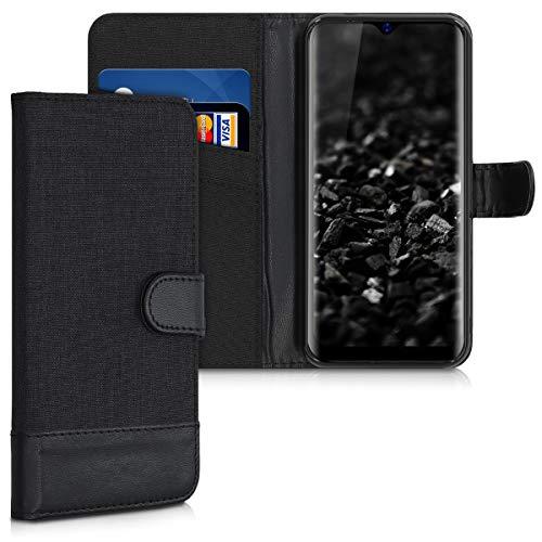 kwmobile Hülle kompatibel mit Blackview A60 Pro (4G) - Kunstleder Wallet Hülle mit Kartenfächern Stand in Anthrazit Schwarz
