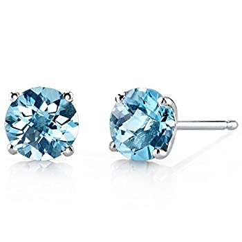 Peora Swiss Blue Topaz Stud Earrings for Women in 14 Karat White Gold Classic Solitaire Round Shape 6mm 2 Carats total Friction Back