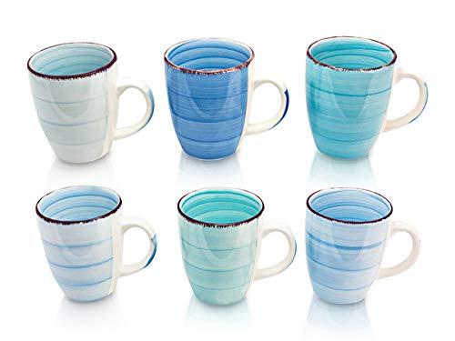 6er Set Kaffee Tee Kakao Becher Tassen Pott Modernes Design ca. 350 ml (Hellblau,Meeresblau,Dunkelblau,Mint,Pastellblau und Türkisblau)
