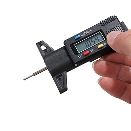 YUXIwang Micrómetro Mini micrómetro digital medidor de profundidad pisada del neumático de pastillas de freno de zapatos del desgaste del calibrador Pantalla LCD de Neumáticos profundidad del neumátic