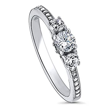 BERRICLE Rhodium Plated Sterling Silver Round Cubic Zirconia CZ 3-Stone Anniversary Promise Wedding Engagement Ring 0.6 CTW Size 9