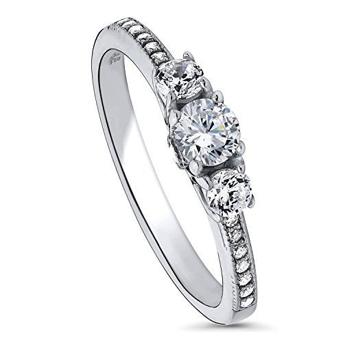 BERRICLE Rhodium Plated Sterling Silver Round Cubic Zirconia CZ 3-Stone Anniversary Promise Wedding Engagement Ring 0.6 CTW Size 8