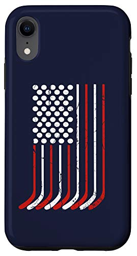 iPhone XR Vintage American Flag Hockey Gift, 4th July Men Boys USA Case