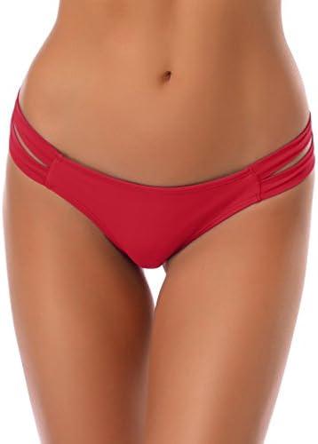 SHEKINI Cheeky Bikini Bottoms Strappy Low Rise Brazilian Thong Swim Shorts for Women Large US product image