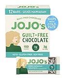 JOJO's Dark Chocolate Bars Made with Hemp, Plant Based Protein, Sugar Free, Low Carb, Vegan, Paleo & Keto Friendly, Healthy Snack, Goes Hawaiian, 1.2oz Bar (12 Count Box)