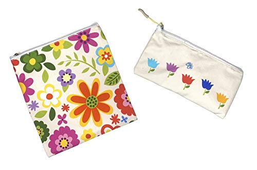 Joey Pouch Reusable Sandwich Bags 2Pack  Eco Friendly Reusable Snack Bags Washable and Dishwasher Safe  Snack Bags BPA Free  Reusable Snack Bags for Kids 7X7 and 7X4 inch bags Flowers