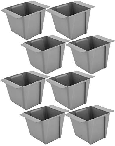 My-goodbuy24 Pflanzkasten für Paletten - 8 Stück Eckig - Blumenkästen Kunststoff Einsatz für Europlatten Deko Garten Pflanzschale - grau