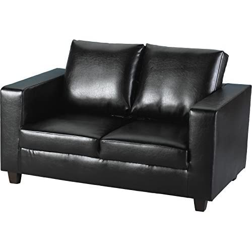 2 Seater Black Leather Sofa: Amazon.co.uk