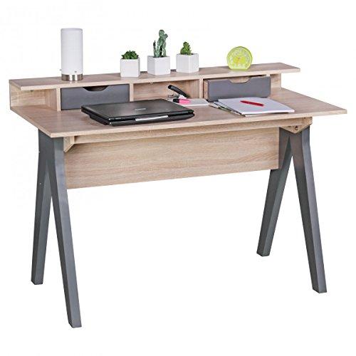 Bureau SAMO 120cm Design Table de Bureau Table Informatique Sonoma chêne/Moderne Gris 2 tiroirs et Rangement pour économiser l'espace