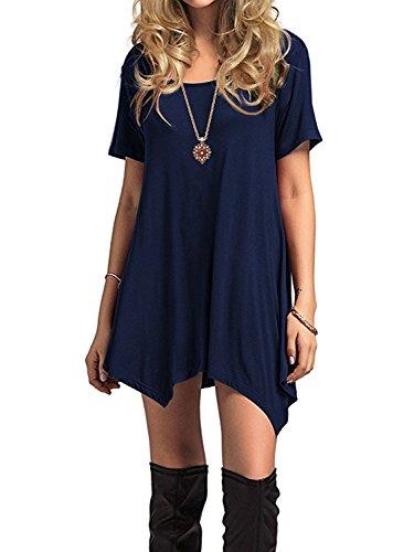 Azue Damen Sommerkleider Kurzarm Kleider Casual T-shirt kleid Loose Fit für Alltag Dunkelblau K EU 42 (Herstellergröße L)