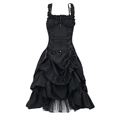 Doublehero Gothic Kleidung Damen Kleid Mittelalter Kostüm Punk Karneval Spitze Cosplay Ärmelloses Steampunk Minikleid Sommer A-line Party Vintage Kleid