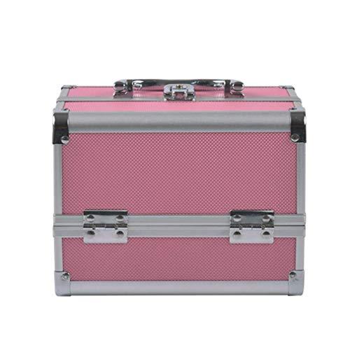 Mobilier Et Matériel pour Salons De Coiffure Maquillage Case Aluminium Beauty Case avec 2 Serrures Pliantes Cosmétique Coffret Rangement Bijoux