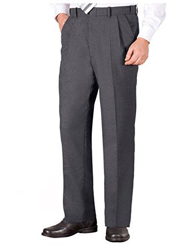 Pantalones De Poliéster/Viscosa Plisados con Cintura Elástica De Hombre Gris UK 32/EU 48 x Corto - 74cm (29 Inch)