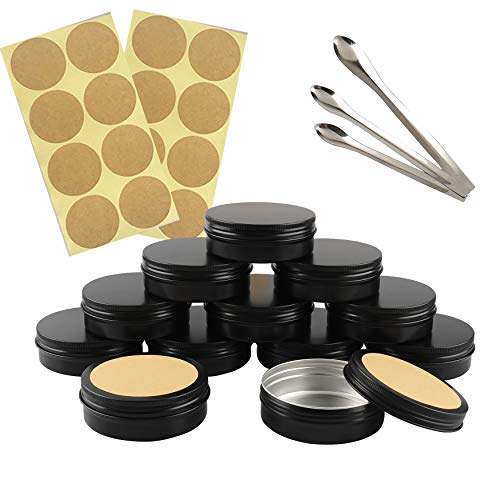 FBJIE 24 Pcs 100ml Black Aluminum Tin Jars with Screw Lids, Empty Round Cosmetics Lip Balm Containers Pots for DIY Candle, Salve Powder, Crafts, Storage Cans with 3X Alu Spoon, 24x Ø 7cm Labels