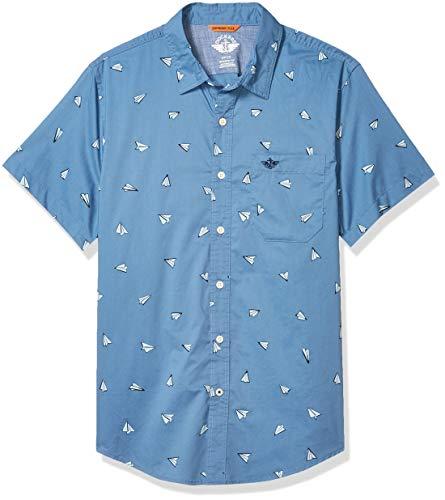 Dockers Men's Short Sleeve Button-Down Supreme Flex Shirt, Paper Planes Blue, XL