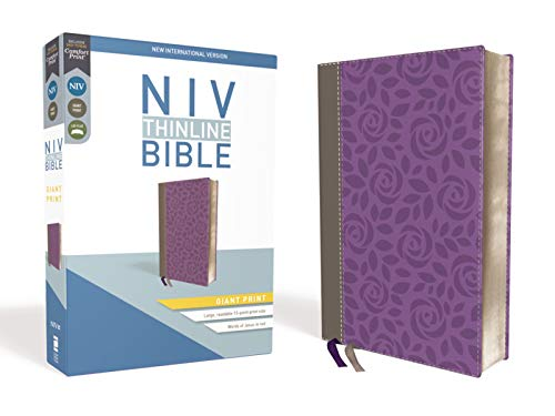 Compare Textbook Prices for NIV, Thinline Bible, Giant Print, Leathersoft, Gray/Purple, Red Letter Edition, Comfort Print Large Print Edition ISBN 9780310448655 by Zondervan