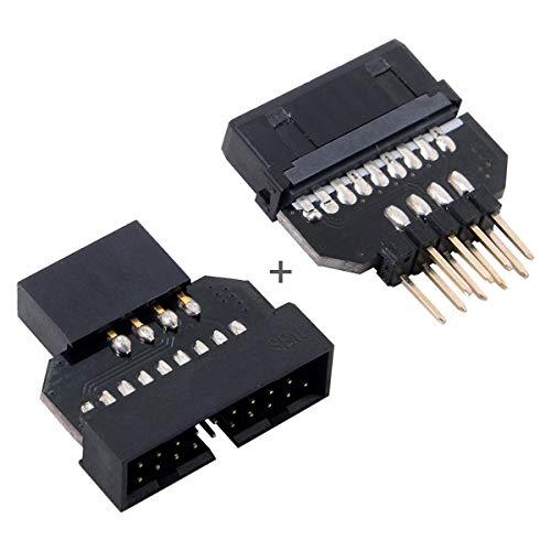 Cablecc - 1 set con adattatore reversibile USB 2.0 9 pin USB 3.0 femmina 20 pin scheda madre