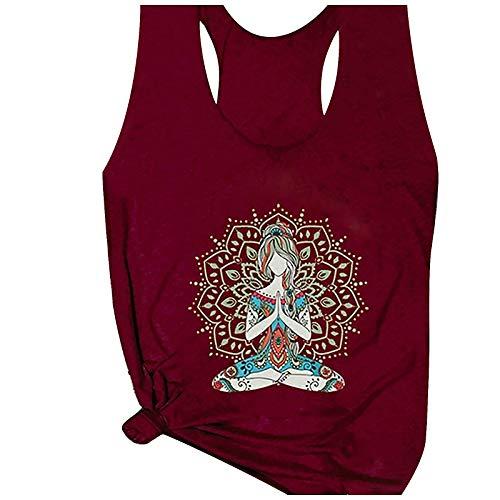 Padaleks Camisetas sin mangas con cuello en O para mujer, para entrenamiento, yoga, sueltas, ligeras, para verano, básicas, túnicas