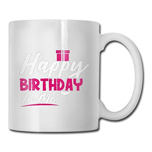 Taza de café con texto en inglés «Happy Birthday to me» (325 ml), regalo perfecto para usar en casa u oficina, es una gran idea de regalo