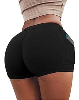 HYZ Women's Summer Sexy Mini Stretch Workout Running Butt Lifter Booty Shorts with Pockets Armygren Black