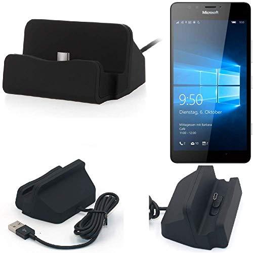 K-S-Trade Dockinsgstation Kompatibel Mit Microsoft Lumia 950 Ladestation Dock Ladegerät Docking Station Inkl. USB Typ C Kabel Schwarz