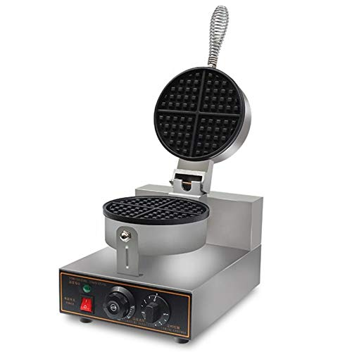 MAZORIA Belgian Waffle Maker Commercial Round (Silver) - 4 Slots