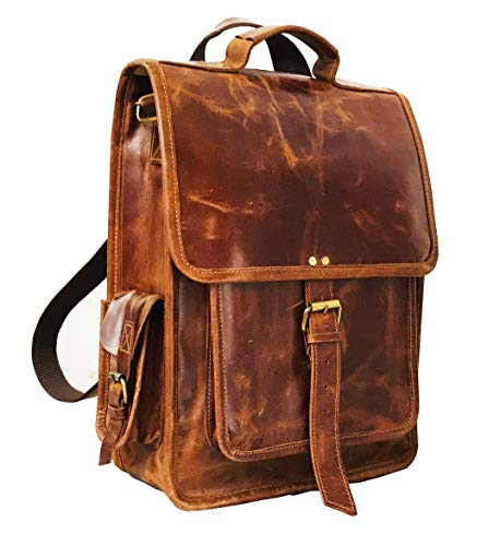 DHK Brown Vintage Leather Backpack Laptop Messenger Bag Rucksack Sling for Men Women (12' x 16')