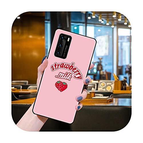 Funda del teléfono para Huawei P40 P30 P10 P20 Lite P Smart Z 2019 Pro negro cubierta Etui moda Conchas deliciosa fruta con apetito-Y9-huawei P inteligente 2019
