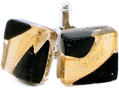 Gemelos de cristal de Murano negro y oro de Venecia