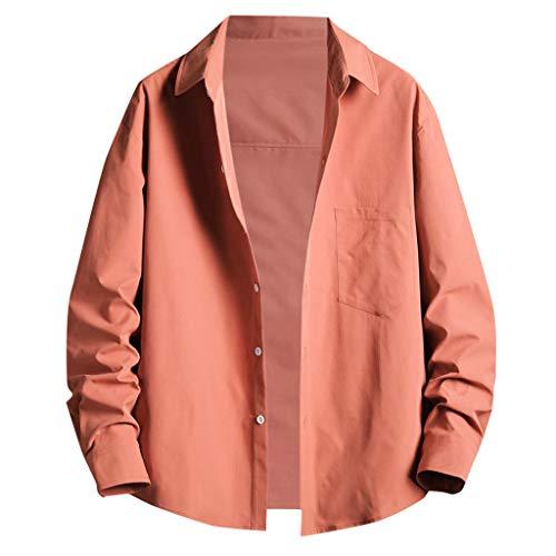 Yowablo Chemisier Homme Printemps Été Casual Slim Imprimé Chemises À Manches Longues Top Beach (XL,2 Roses)