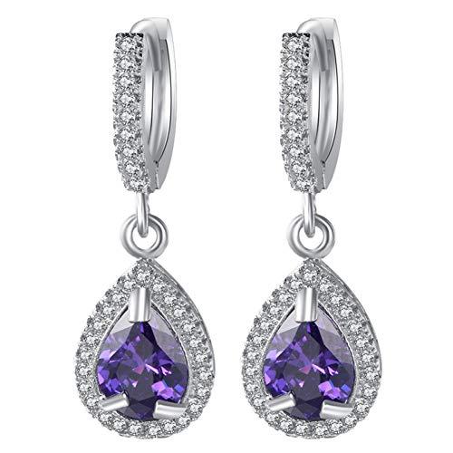 EARWQ Water Drop Zircon Long Silver Dangle Earrings For Women Gifts