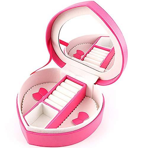 LIXILI Caja de joyería pequeña Multifuncional con Espejo, Caja de Almacenamiento de Viaje, Caja de Almacenamiento de Pantalla portátil, Usado para Pendientes de Anillo, Collares, Regalos,Rojo