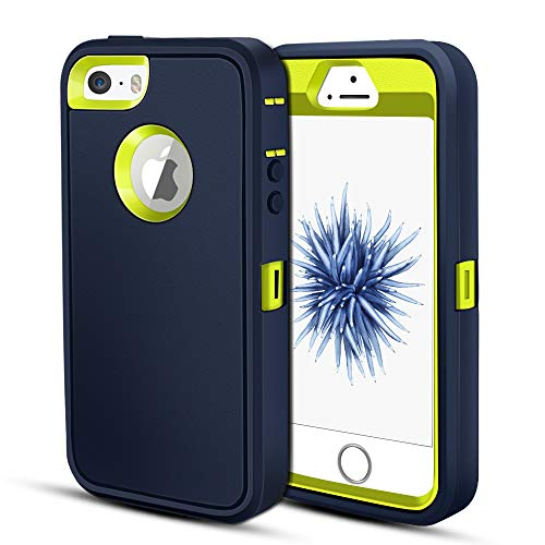 protect iphone 5c cases iPhone 5S Case, Jiunai Protective Dual Layer Shockproof Anti Scratch Outdoor Sports Tough Strong Drop Protection Armor Hybrid Soft TPU Bumper Cover Case for iPhone 5S 5 SE [NOT SE 2020] Blue