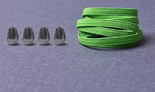 RSS schoenveters 1 paar metalen kop platte veters geen stropdas veters kinderen volwassenen snel veters elastisch turnschoenen kant 21 kleuren lakken baskets (kleur: groen)