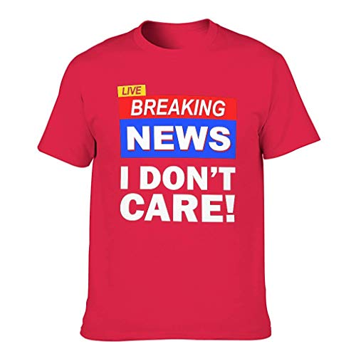 Men's T-Shirt Live Breaking News I Don't Care Print Ethnic Shirts,Red,3XL