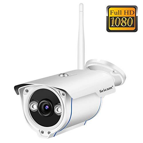 Sricam SP007 Cámara de Vigilancia Wifi Exterior, Visión Nocturna, HD 720P Impermeable IP66, Seguridad Exterior, Detección de Movimiento, Email Alarma Compatible con iOS Android y Windows PC
