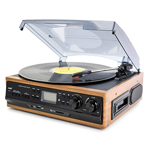 LHNEREG Tocadiscos, Tocadiscos Portátil De Vinilo con Bluetooth Altavoces Estéreo Integrados, Reproductor LP Transmisión por Correa 3 Velocidades,Conector para Auriculares Radio Am/FM,Wood Grain