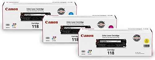 Canon Genuine Toner Bundle 118 (2660B015), 3 Pack (1 Each: Cyan, Magenta, Yellow), for Canon Color imageCLASS MF8350Cdn, MF8380Cdw, MF8580Cdw, MF729Cdw, MF726Cdw, LBP7200Cdn, LBP7660Cdn Laser Printers