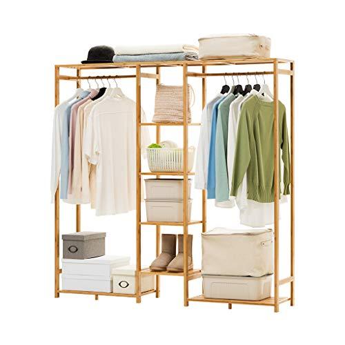 Râteliers multi-usages Porte-Manteau en Bois Massif Simple Chambre Cintre Plancher Rack Simple Moderne vêtements Rack de Stockage Casiers (Color : Beige, Size : 149 * 30 * 147cm)