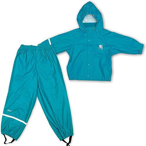 Celavi Kinder Unisex Regen Anzug, Jacke und Hose, Alter 4-5 Jahre, Größe: 110, Farbe: Türkis, 1145