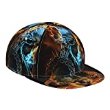ZORIN Gorra de béisbol de tela escocesa ajustable sombrero de impresión 3D fuego azul llameando cráneo hierro cadena fuego Snapback