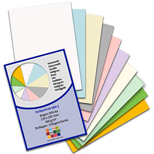 50 DIN A4 Papier-bögen Farbenmix-Paket 2 - Planobogen - 10 Farben - 160 g/m² - 21 x 29,7 cm - Bastelbogen Ton-Papier Fotokarton Bastel-Papier Ton-Karton - FarbenFroh