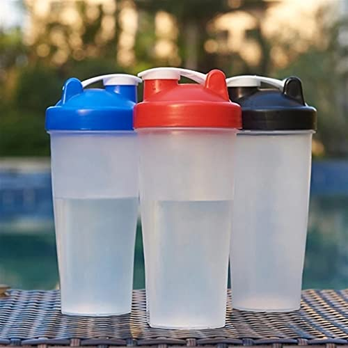 WxberG Shaker Bottle, 20oz - Leak Proof Mixer Cup with Stainless Steel Blending Ball - Mixing Bottles for Protein Shakes - Set of 2 (Color : Black)