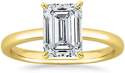 JewelsForum 14K Oro 1.00 Quilates Solitario Corte Esmeralda Anillo De Compromiso Anillo De Compromiso Anillo De Bodas Certificado Con Sello (Color Hi, Claridad I1 / I2) (Oro Amarillo)