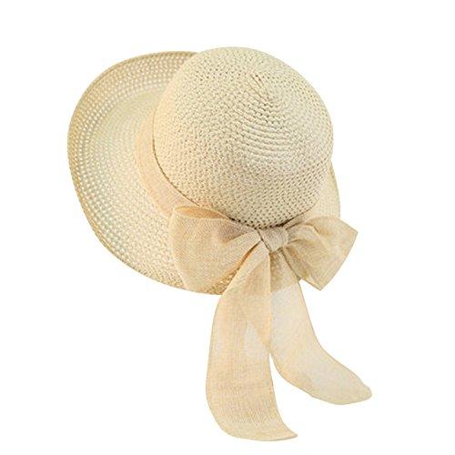 LAEMILIA Damen Sommer Strand Sonne Hüte Wide Rand Mit Schleife Strohhut Sonnenhut Strandhut Sommerhut Damenhut
